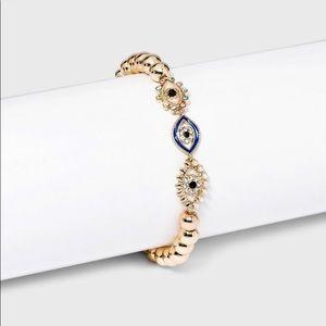 Baublebar Sugarfix Evil Eye Gold Crystal Pearl Beaded Bracelet